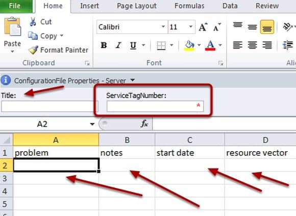 Excel should open up and you should see the Document Information Panel at the top asking for  a Title and ServiceTagNumber.