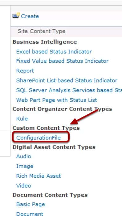 ConfigurationFile Content Type under Custom Content Types