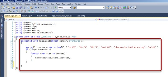 How to set breakpoints in Visual Studio to troubleshoot C#