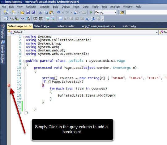 how to set breakpoints in visual studio to troubleshoot c asp net