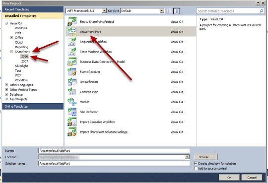 How create a Visual Web Part for SharePoint 2010 in Visual Studio