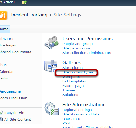 ITIL SharePoint 2010 Site content types under Galleries