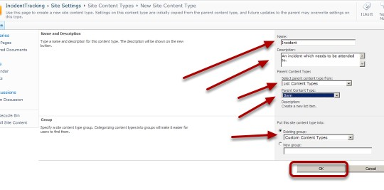 ITIL SharePoint 2010 List Content Types and Item