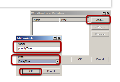 Add button in the Workflow Local Variables Dialog box