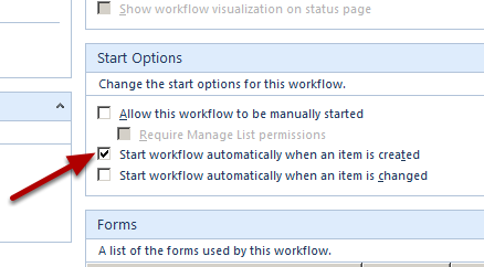 Configure the Start Options