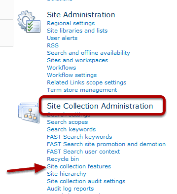 Confirm the feature settings of the target SharePoint Site