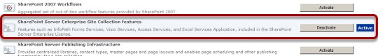 Verify that the SharePoint Server Enterprise Site Collection features