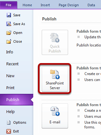 From the Publish screen click on SharePoint Server