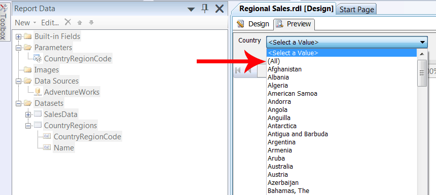 All option Country parameter SQL Using parameters with multiple values in Reporting Services