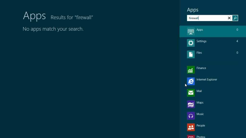 Windows 8 apps firewall