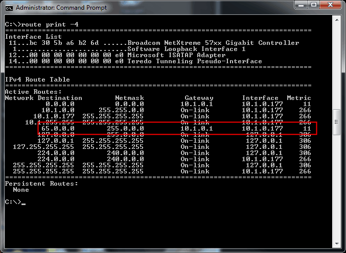 route table windows command prompt Cisco routing tables with route print