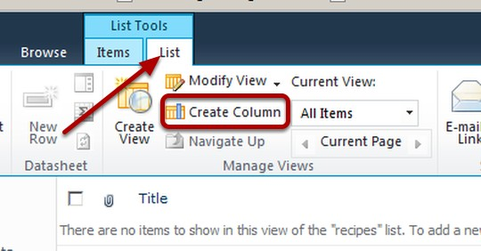 SharePoint 2010 Create Columns image