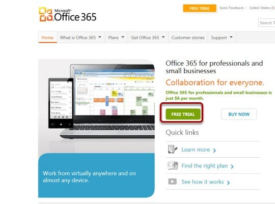 setting up an office 365 trial with sharepoint online interface