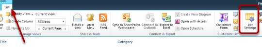 SharePoint 2010 click list settings image