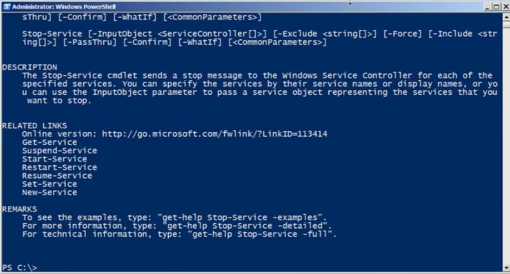 Windows PowerShell Get Help Stop Service
