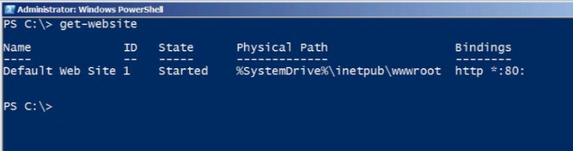 Windows PowerShell Get-Website
