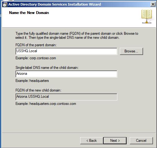 FQDN Active Directory Child Domain AD DS Windows Server