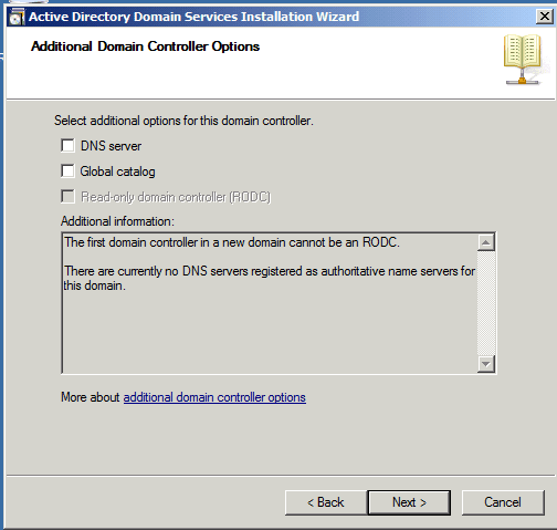 Additional Domain Controller Options Active Directory Child Domain AD DS Windows Server