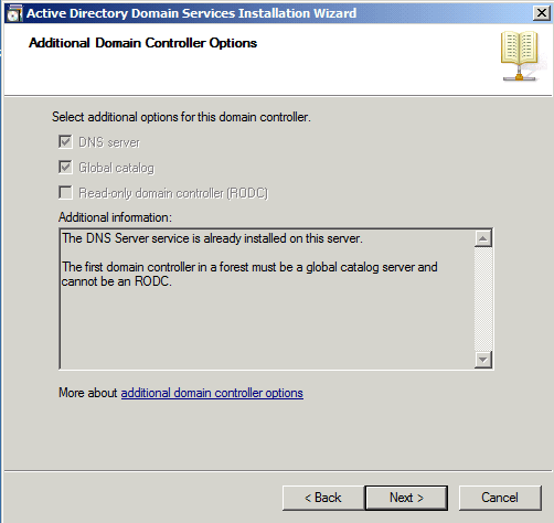 Domaing Controler Options Active Directory Domain Services AD DS Windows Server