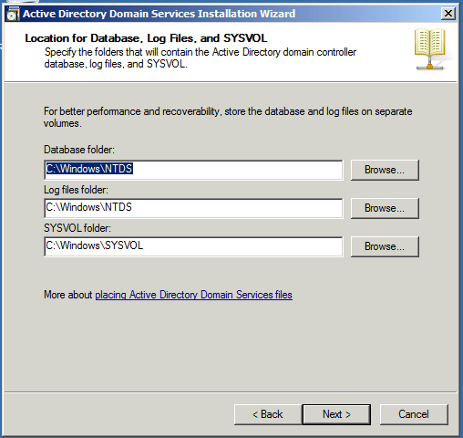 Log Files SYSVOL Active Directory Domain Services AD DS Windows Server