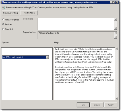 How to Disable  PST Files in Outlook 2010 using Group Policy