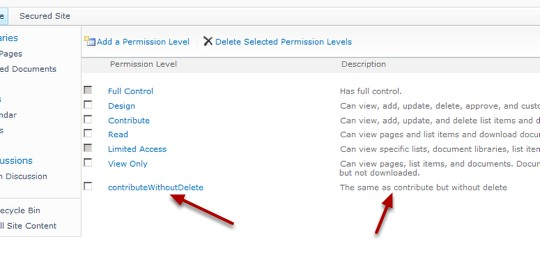 Save the new level 1 custom security level on a SharePoint Site