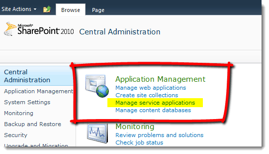 Central-Administration-Manage-Service-Applications How to set up a Content Type Hub in SharePoint 2010