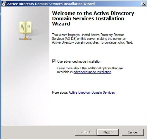 advanced mode Installing Active Directory