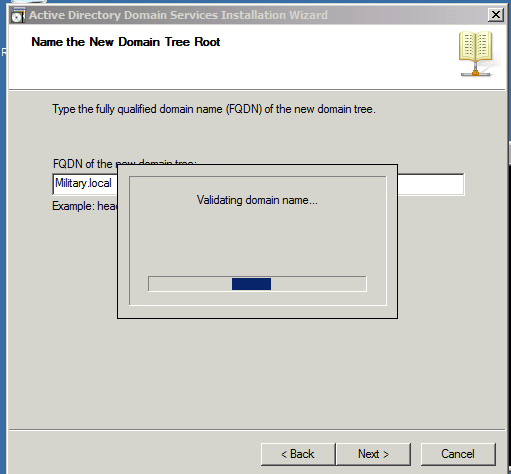 New Domain Tree Root Installing Active Directory