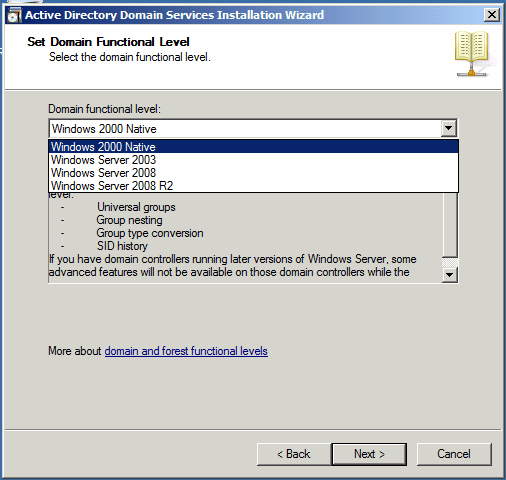 Set Domain Functional Level Installing Active Directory