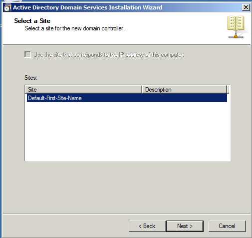 Select a site Installing Active Directory
