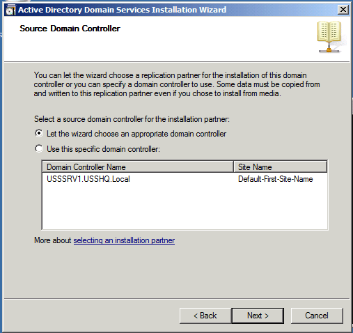 Additional Domain Controller Options Installing Active Directory