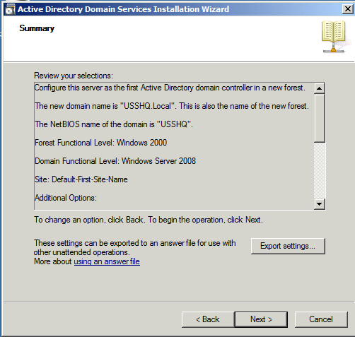 Summary Installing Active Directory