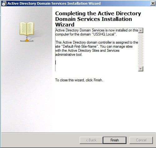 Completing Installing Active Directory