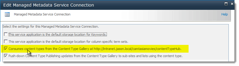 Consumes How to set up a Content Type Hub in SharePoint 2010