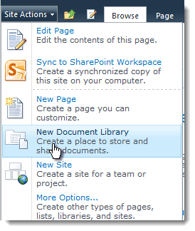 new document library How to set up a Content Type Hub in SharePoint 2010