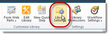 library settings How to set up a Content Type Hub in SharePoint 2010