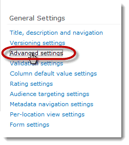 advanced settings library How to set up a Content Type Hub in SharePoint 2010