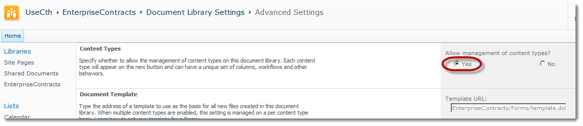 Allow Management of Content Types How to set up a Content Type Hub in SharePoint 2010