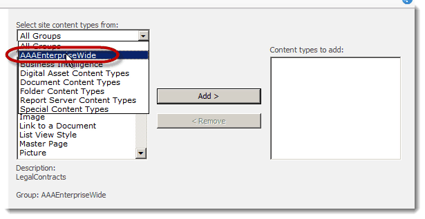 groups How to set up a Content Type Hub in SharePoint 2010