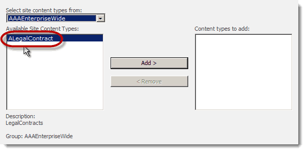 available site content types How to set up a Content Type Hub in SharePoint 2010