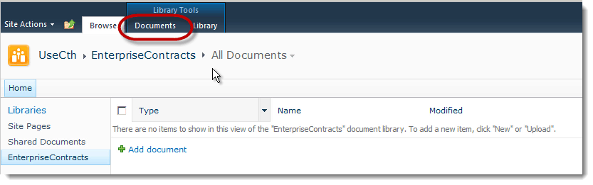 documents tab How to set up a Content Type Hub in SharePoint 2010