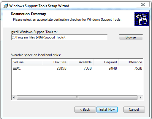 Destination folder Windows Support Tools Setup Wizard Replication Monitor (Replmon)