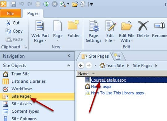 Site Pages SharePoint Designer 2010