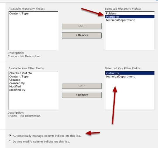 Configure automatic column indexing for the list in SharePoint 2010