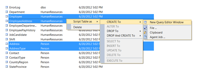 How To Select Multiple Sql Server Database Objects In Ssms