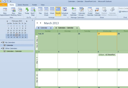 How to connect SharePoint 2010 Calendars to Outlook 2010