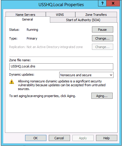 Dns forward lookup zones not updating