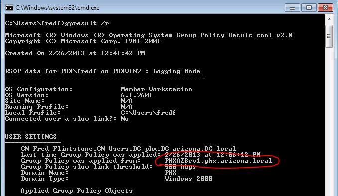 cmd logon server