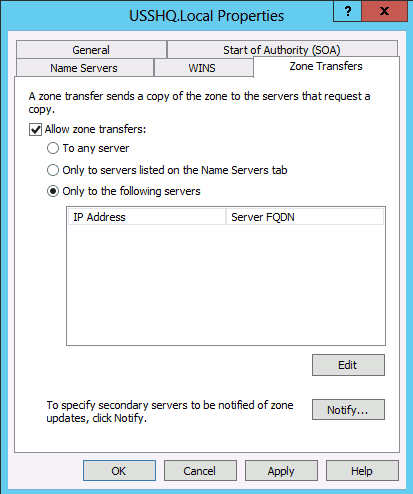 zone transfers ip address DNS Secondary Zone Windows Server 2008 2012
